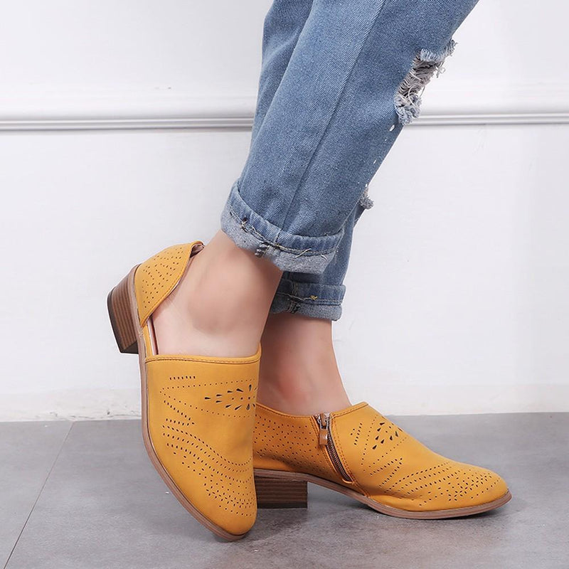 Vintage Chunky Low Heels Booties - fashionshoeshouse