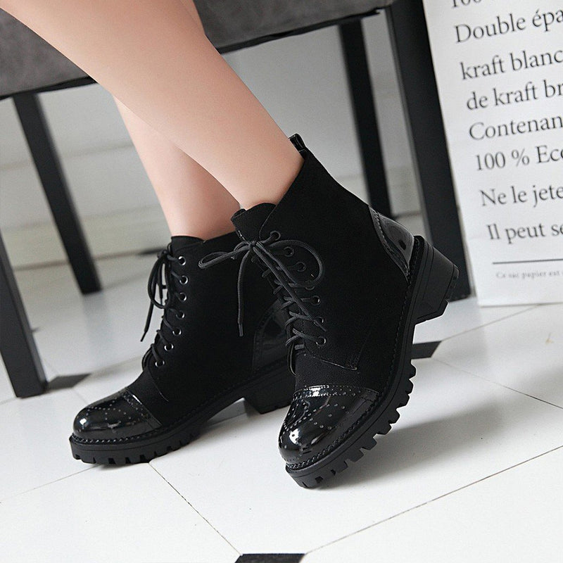 Fashion Patchwork Short Plush Boots - fashionshoeshouse