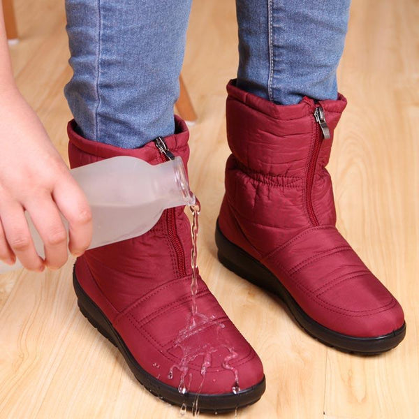 Waterproof zipper faux fur warm ankle boots - fashionshoeshouse