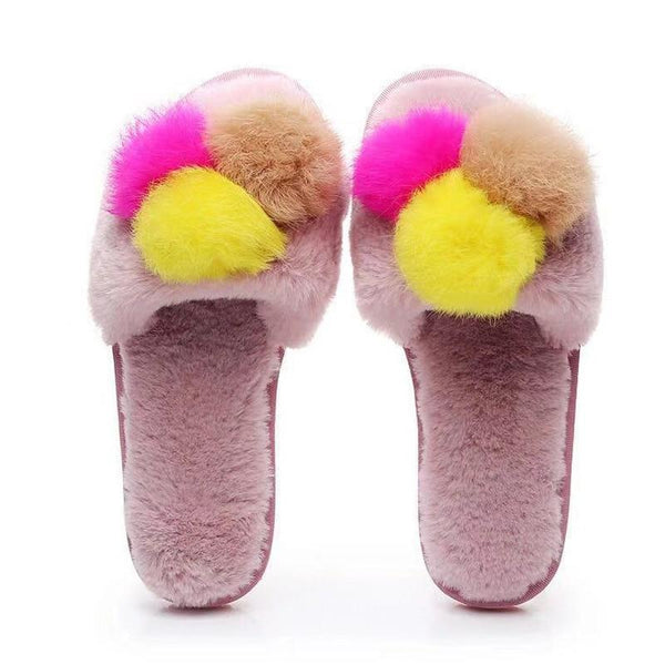 Women Winter Fur Slippers Indoor - fashionshoeshouse