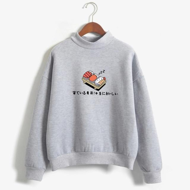 Women 2019 Autumn Winter Kawaii Sushi Cartoon Print Fleece Loose Hoodies Sweatshirts - fashionshoeshouse