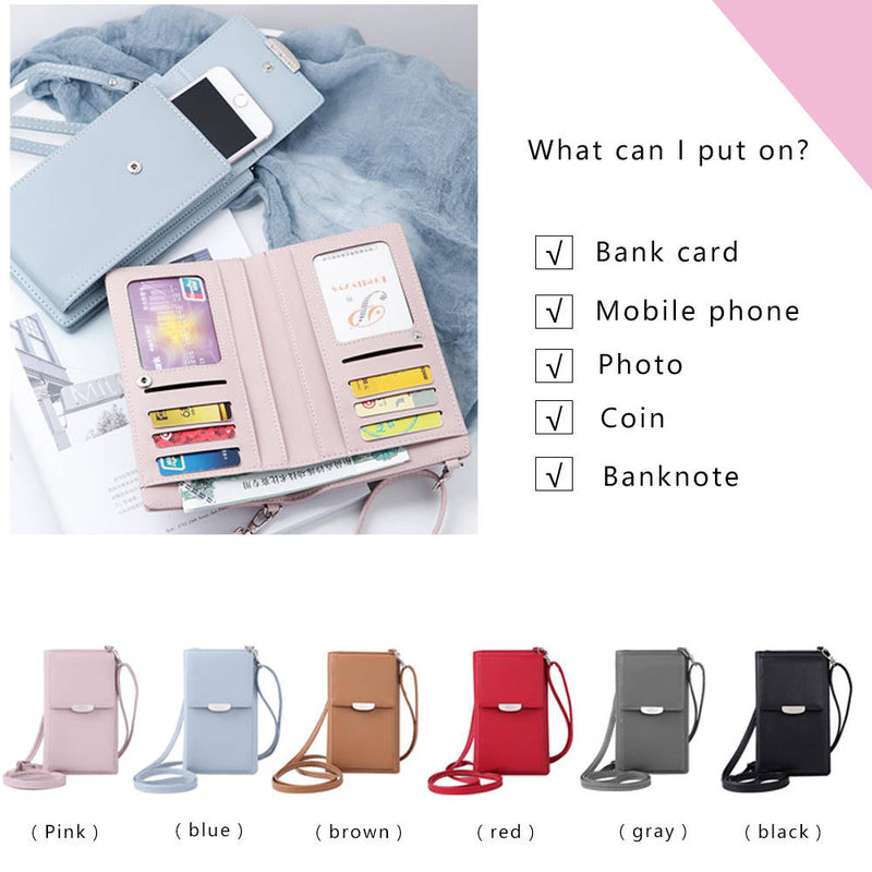 Tinkin PU Leather Multifunction Women Shoulder Bag Fashon Candy Color Cell Phone Bag - fashionshoeshouse