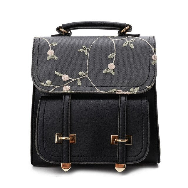 Fashion School Backpack Teenage Girls High Quality Women Shoulder Bag Backpack Floral Embroidery Design Rucksack - fashionshoeshouse