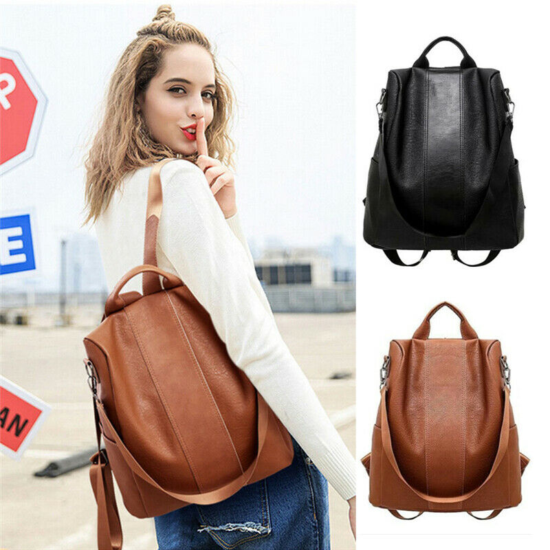 Female anti-theft backpack classic PU leather solid color backpack - fashionshoeshouse