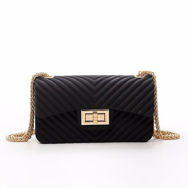 Women Frosted Jelly Shoulder Bag Fashion Small Bag V-chain Candy Color Female Clutch - fashionshoeshouse