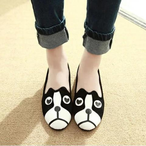 Women Cat & Dog Pattern Slip On Cute Suede Loafers - fashionshoeshouse