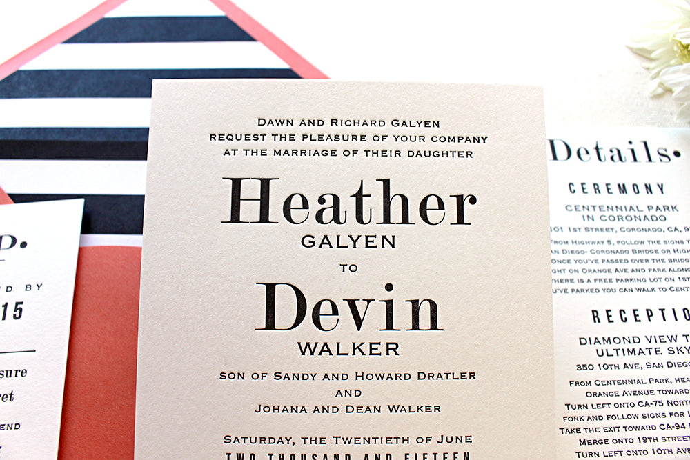 Hazel – Serif Font Letterpress Wedding Invitation