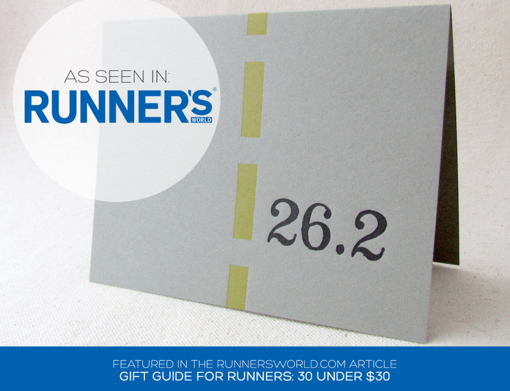 Letterpress Marathon Cards as seen in Runners World