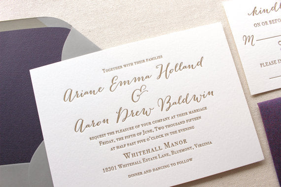 Wildflower Letterpress Printed Wedding Invitation