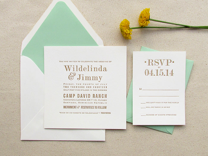 Mint and Gold Modern Wedding Invitations