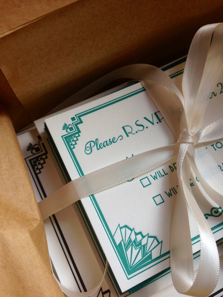 Letterpress Art Deco Wedding Invitations