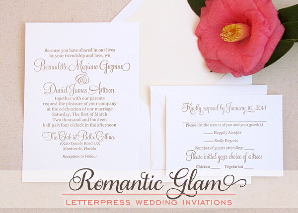 Romantic Glam Letterpress Wedding Invitations