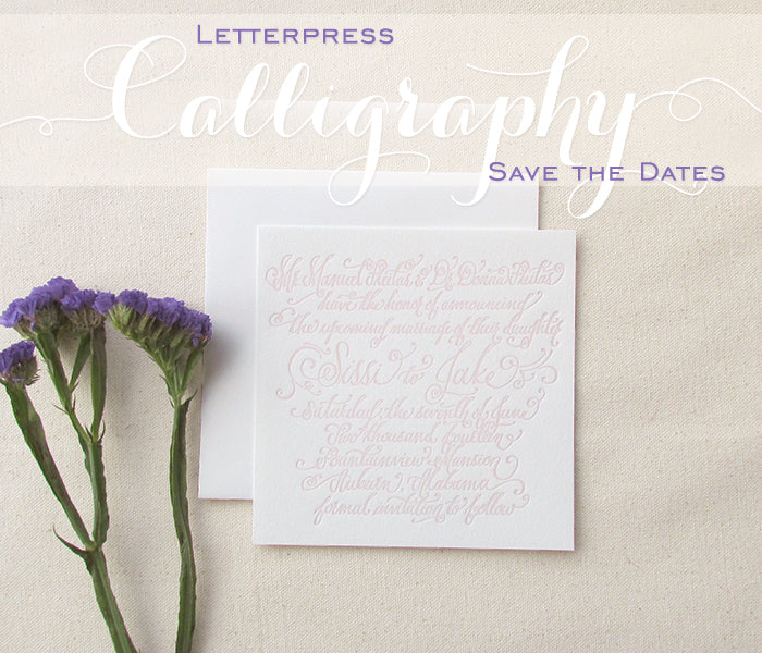 Letterpress Calligraphy Save the Dates