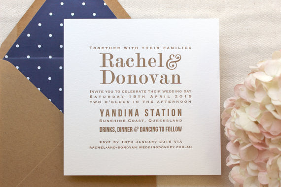 Marigold Letterpress Printed Wedding Invitations