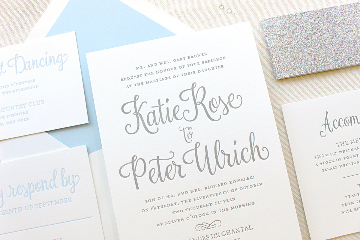 Forget Me Not Winter Wonderland Letterpress Printed Invitations