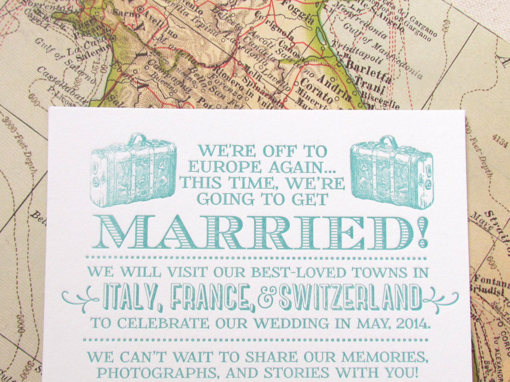 Letterpress Europe Elopement Announcement