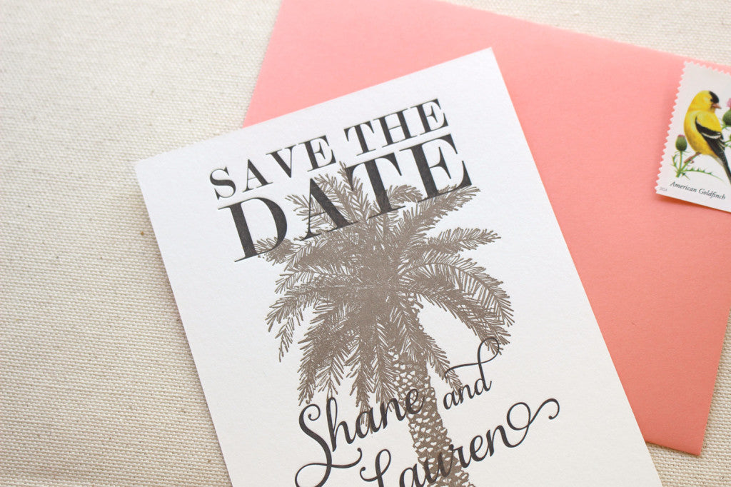Leilani Letterpress Printed Save the Date