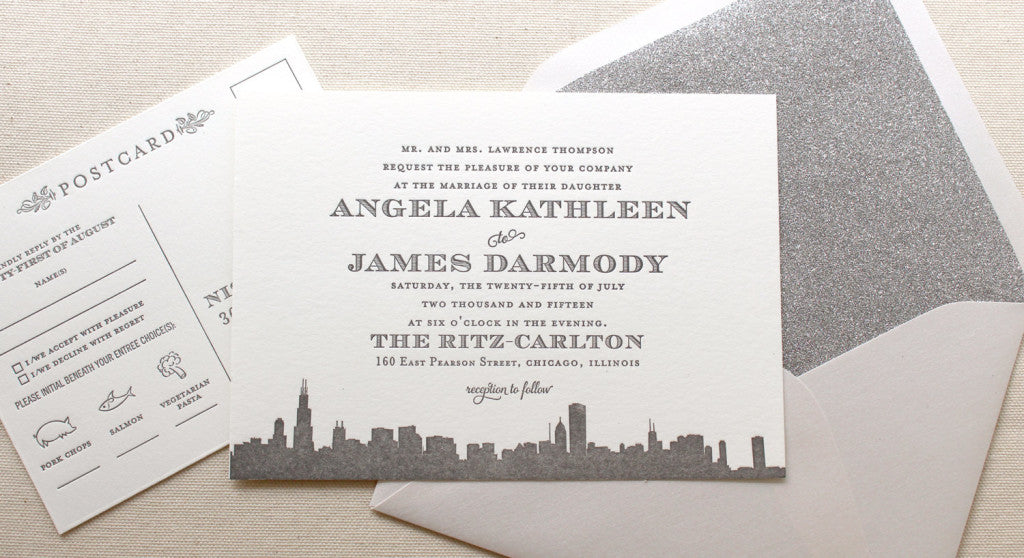 Empire Letterpress Printed Wedding Invitations