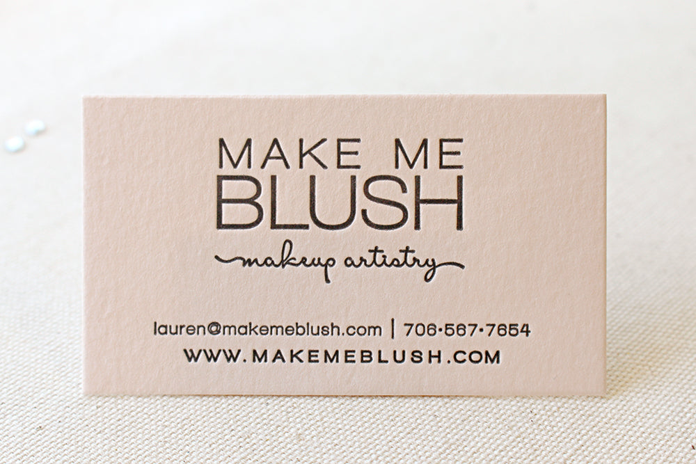 Letterpress Printed Business Cards on Blush Pink paper