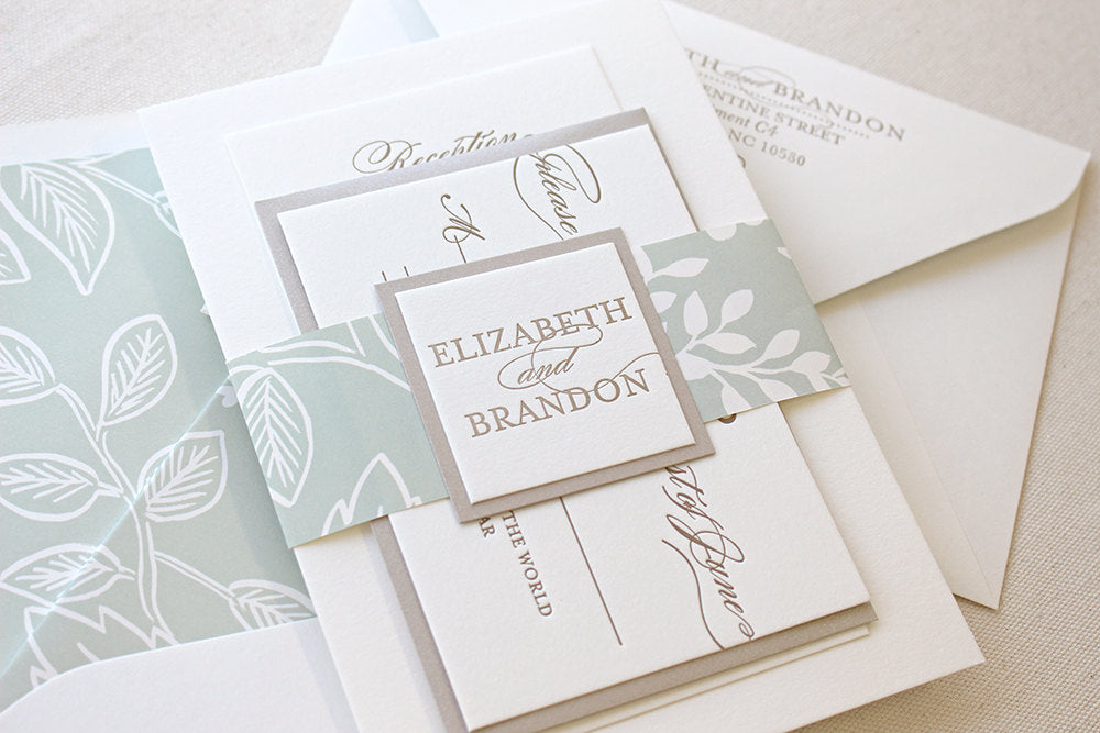Spearmint Blossom Letterpress Wedding Invitation