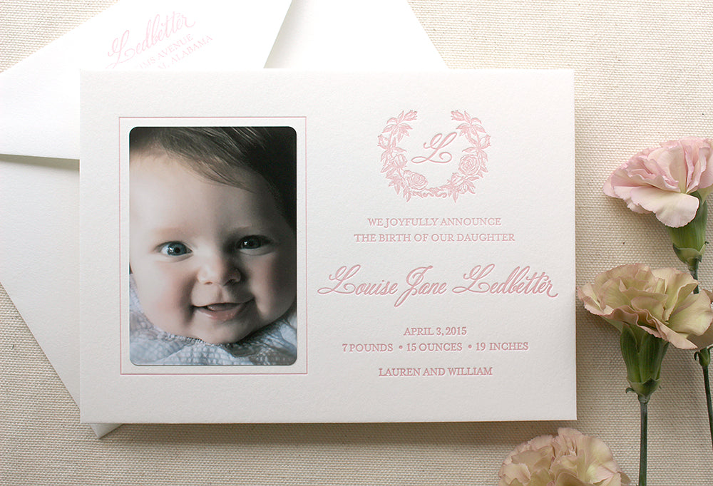 Vintage Floral Wreath Letterpress Printed Birth Announcements