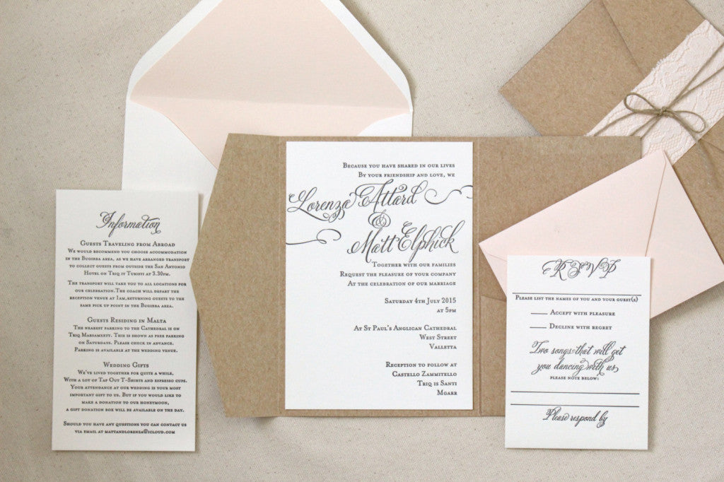 Rosebud Suite: Rustic Letterpress Printed Wedding Invitations