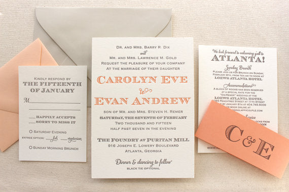 The Laurel Suite – Whimsical Modern Letterpress Wedding Invitation