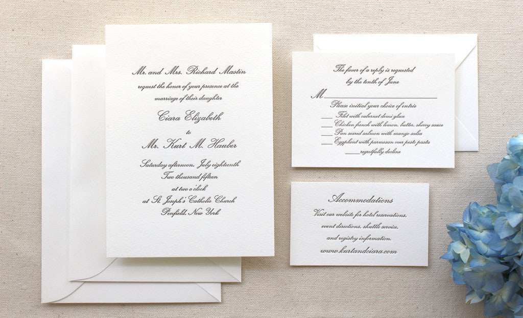 The Conservatory Suite – Formal Letterpress Wedding Invitation