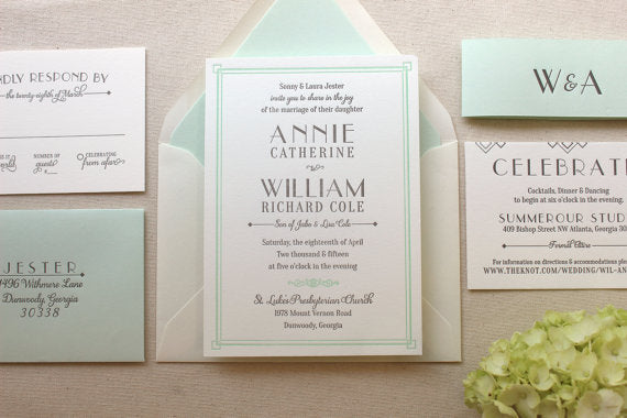 Lush Deco Suite – Letterpress Wedding Invitation Suite