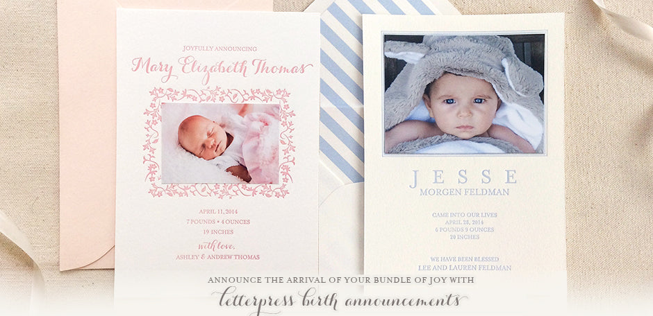 letterpress printed birth announcements