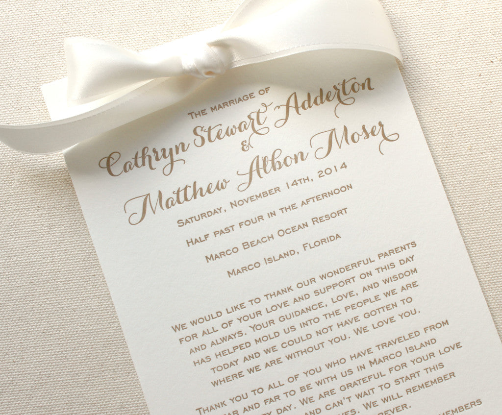 Letterpress Printed Wedding Programs