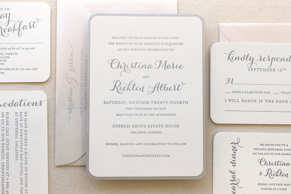 Modern Fairy Tale Letterpress Wedding Invitation Snowdrop Suite