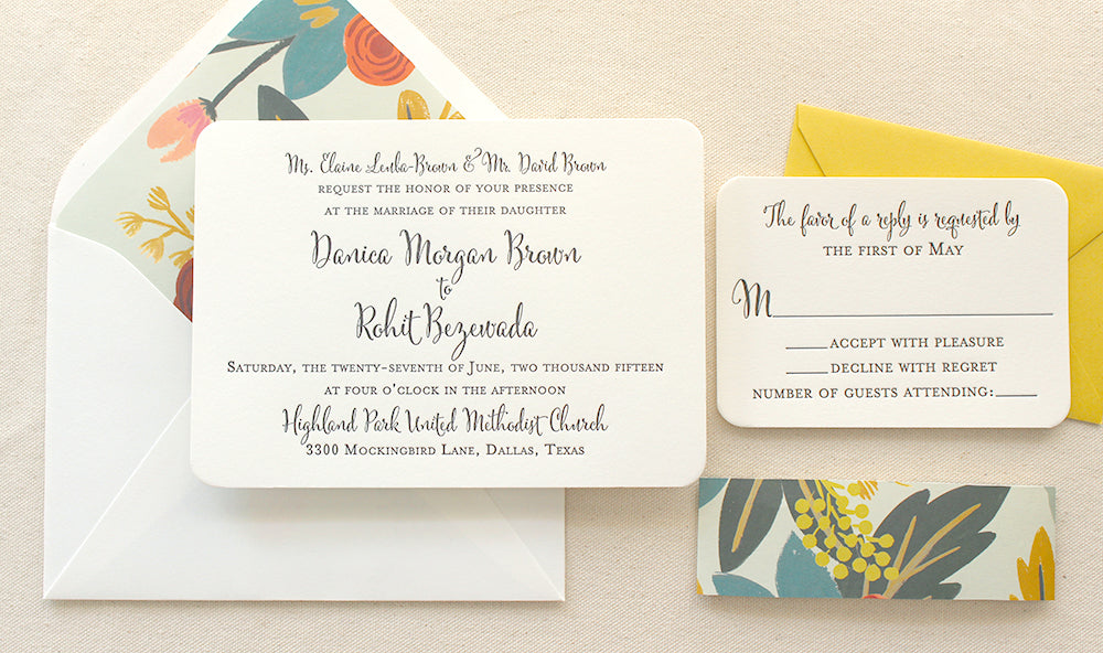 The Flora Suite – Modern Letterpress Printed Wedding Invitation