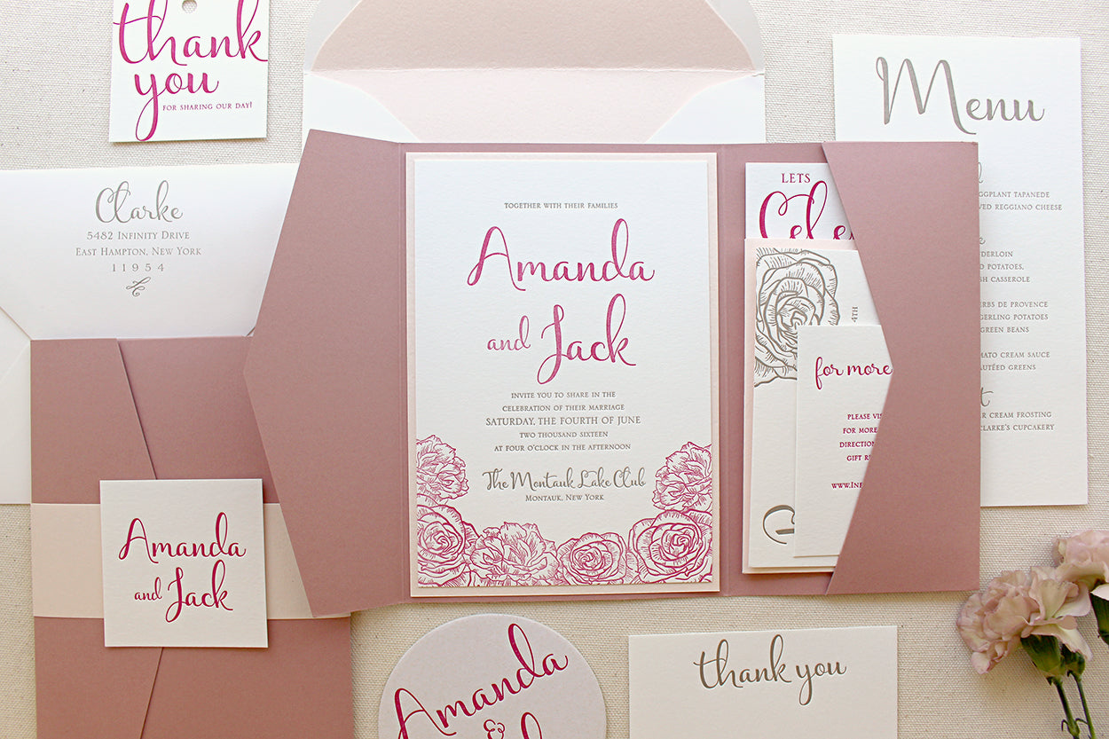 Revenge Inspired Floral Letterpress Wedding Invitations