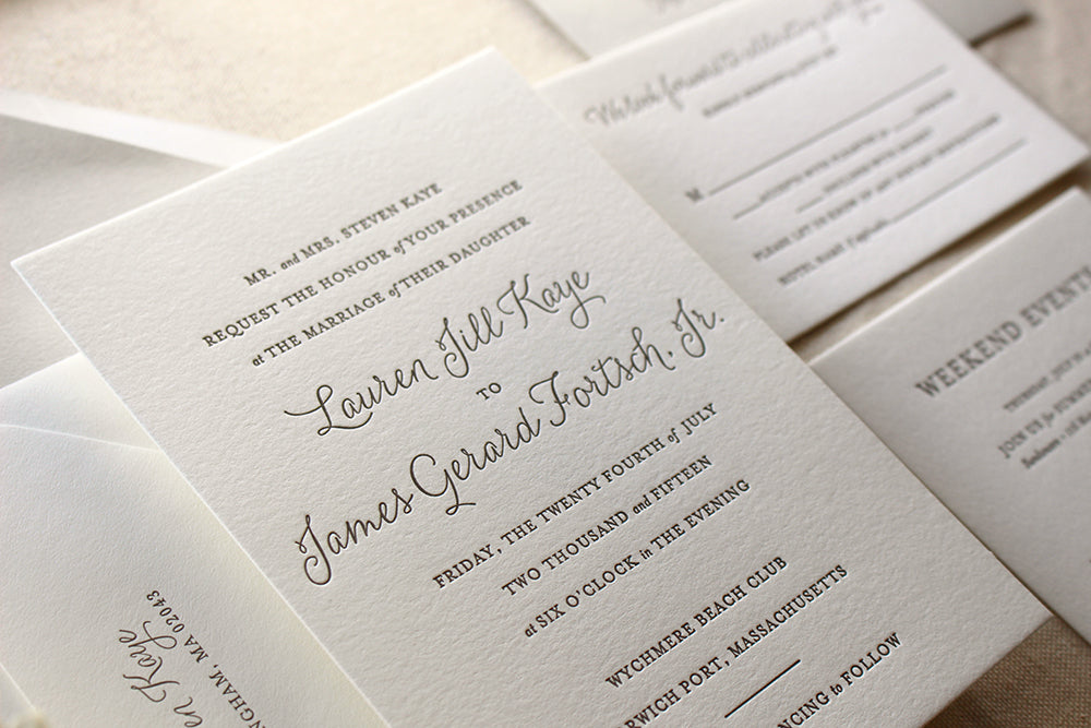 Elegant Letterpress Wedding Invitations – The Lily Suite