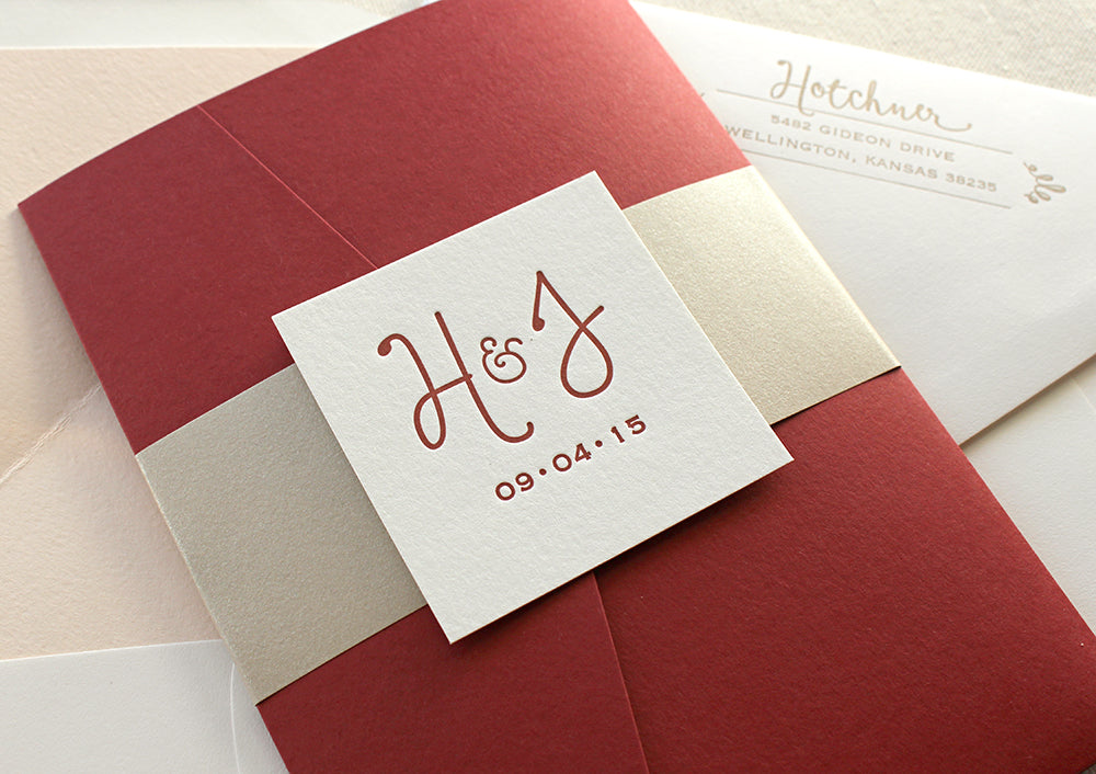 Romantic Red Letterpress Wedding Invitations
