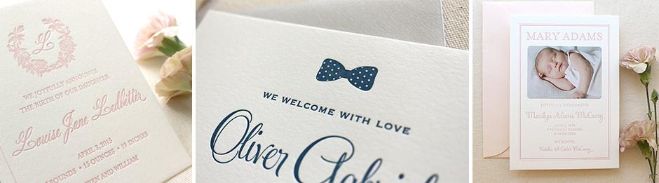 Forest Fauna Gathering Letterpress Birth Announcements