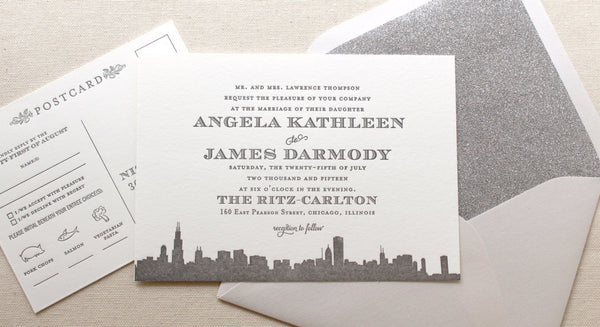 letterpress wedding invitation empire skyline