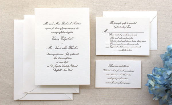 letterpress wedding invitation conservatory suite