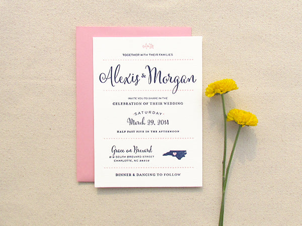 letterpress wedding invitation preppy