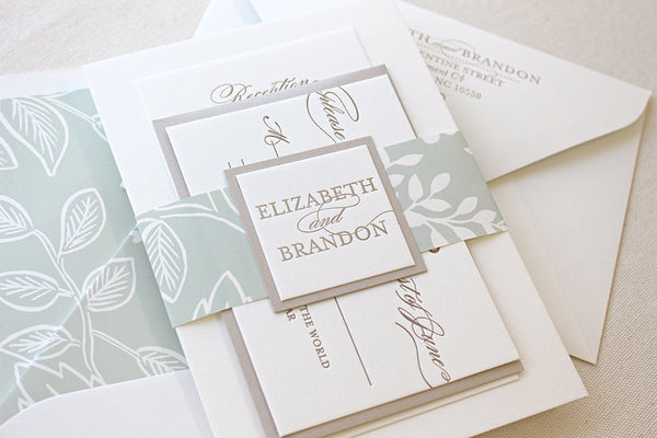 letterpress wedding invitation suite belly band spearmint