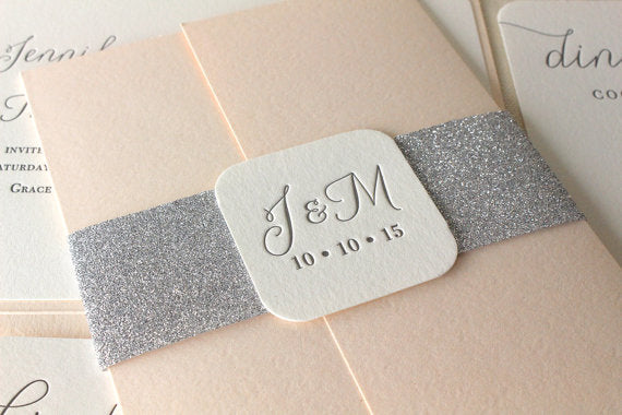 letterpress wedding invitation willow suite belly band glitter