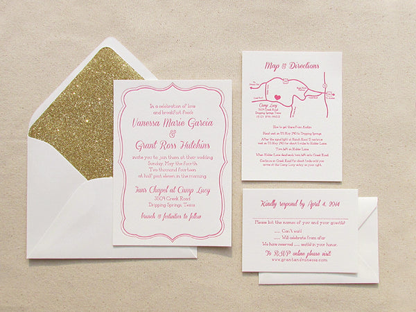 letterpress wedding suite pink and gold