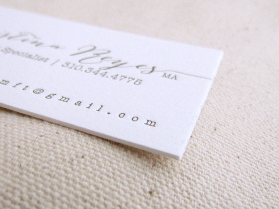 letterpress business card stationery double thick