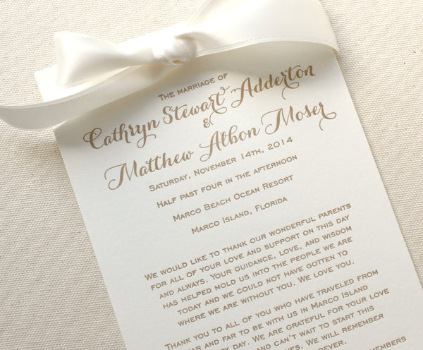 letterpress wedding program ribbon