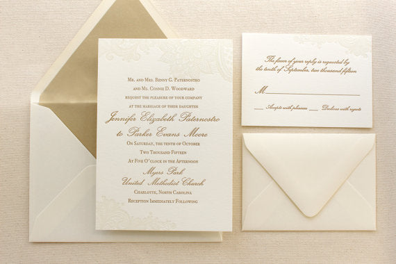 letterpress wedding invitation vintage floral lace suite