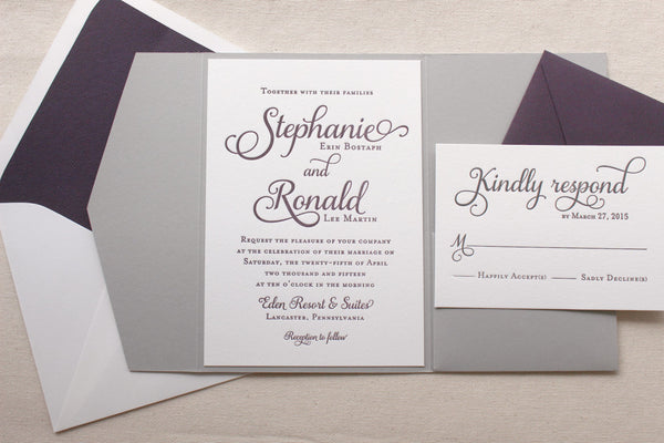 letterpress wedding suite violet