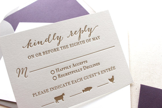 letterpress wedding invitation response card menu