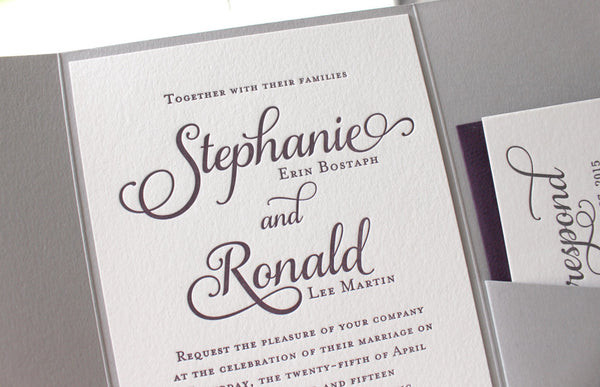 letterpress wedding invitation pocket enclosure purple grey violet