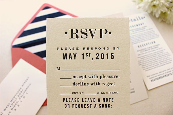 letterpress wedding invitation rsvp response card